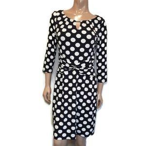 CLEO Polka Dot Twisted 3/4 Sleeve Keyhole Dress